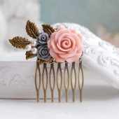 Pink Rose Grey Rose Antique Brass Leaf Hair Comb