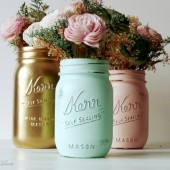 Blush, Mint and Gold Painted Mason Jars