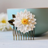 Large White Chrysanthemum Flower Bridal Hair Comb