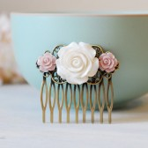 White Ivory and Pink Rose Flower Hair Comb