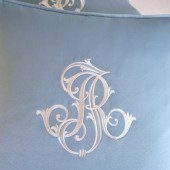 Custom Embroidered Wedding Monogram Pillow