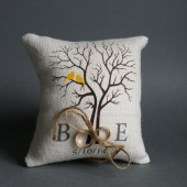 Wedding rustic natural Burlap linen Ring Bearer Pillow Yellow Birds on Brown tree and linen rope