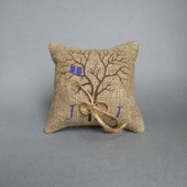 Wedding rustic natural linen Ring Bearer Pillow Purple Owls on the Tree and linen rope