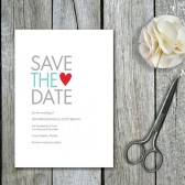 Modern Heart Save the Date Cards