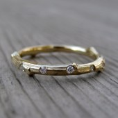 Scattered Diamond Twig Wedding Band: Recycled Gold, 5 Canadian Diamonds