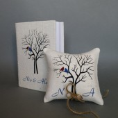 Set of 2 peaces Wedding rustic Burlap guest book and ring pillow Blue and Wine red Birds on Brown tree