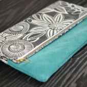 Turquoise Suede and Charcoal flowers clutch