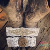 Vintage inspired wedding garter