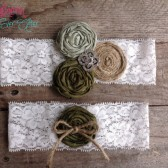Rustic Green Wedding Garter