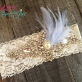 Something Blue Rhinestone and Pearl Wedding Garter