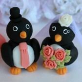 penguin cake topper, custom cake topper, love bird cake topper, wedding cake topper, coral wedding