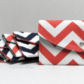 Navy And Coral Chevron Clutches