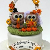 Fall wedding, fall cake topper, owl cake topper, autumn wedding, wedding cake, love bird cake topper