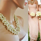 Chunky Pearl Bridal Wedding Necklace