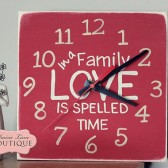 In a Family LOVE is spelled TIME, clock, desk, office decor, family quote