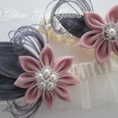 Ivory Wedding Garter Set, Blush Pink Garters, Silver Peacock Garters, Pink & Gray Garters, Pink Kanzashi Flower, Art Deco Gatsby Wedding
