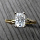 Emerald Cut Moissanite Twig Engagement Ring: Yellow, White, or Rose Gold, 1.2ct