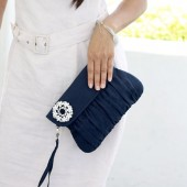Navy Blue Clutch with Rhinestone Brooch