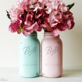 Half Gallon Aqua and Pink Painted Mason Jars