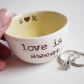 Personalized Wedding Ring Holder in Yellow