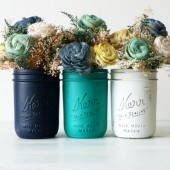 Navy, Emerald and White Painted Mason Jars