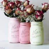 Yellow, Coral and Pink Painted Mason Jars