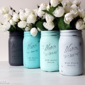Grey and Aqua Painted Mason Jars
