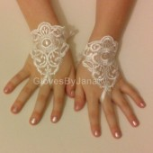 Flover girl lace glove ivory