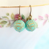 Turquoise Gold Etched Earrings