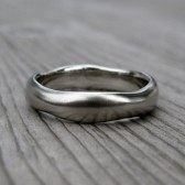 Organic Mens Wedding Band: White, Yellow, or Rose Gold, 5mm Wide
