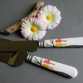 Hand painted wedding cake knives birds on branches