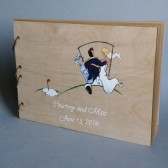 Wedding guest book Hand painted Bridal shower engagement anniversary Book Groom and Bride on Golf car