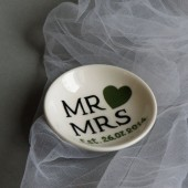 Hand painted Wedding Ring Pillow Alternative , Wedding Ring Dish Mr and Mrs text and dark green heart