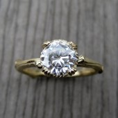 Moissanite Branch Engagement Ring: White, Yellow, or Rose Gold, Carved Floral Setting, 1ct