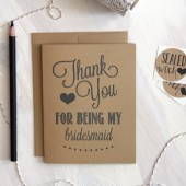 Rustic Thank you for being my bridesmaid Card