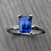 Emerald Blue Sapphire Twig Engagement Ring, 1.25ct, Lab Created Sapphire