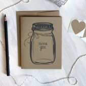 Rustic Kraft Mason Jar Thank You Cards /