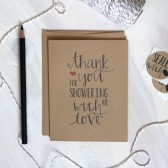 Rustic Kraft Shower Thank You Cards