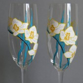 Hand painted Wedding Toasting Flutes Set of 2 Personalized Champagne glasses White Orchid
