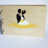 Wedding guest book Hand painted Bridal shower engagement anniversary Book Groom and Bride with Yellow flowers