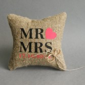 Wedding rustic natural linen Ring Bearer Pillow Mr and Mrs text and red heart