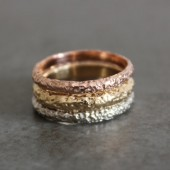 Rustic Textured Gold Wedding Band