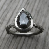 Rustic Diamond Engagement Ring, White Gold, 1.71ct, One of a Kind, Pear Shape