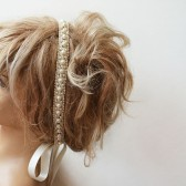 Lace İvory Pearl Head Piece