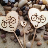 Bicycle Wedding Cake Toppers with Each Initial 3PC Set Perfect for the Cycling Theme