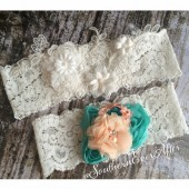 The Clara Keepsake and Aqua and peach toss garter