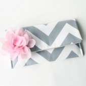Blush Pink and Gray Chevron Clutch