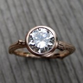 Moissanite Twig Engagement Ring: White, Rose, or Yellow Gold, 1ct