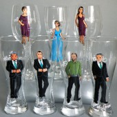 Bridal Party Wine or Beer Glasses Bridesmaids , Groomsmen and Bride's Gift - Personalized Caricatures Handpainted to their Likeness