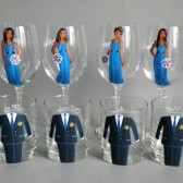 Bridal Party Wine or Whiskey Glasses Bridesmaids , Groomsmen and Bride's Gift - Personalized Caricatures Handpainted to their Likeness